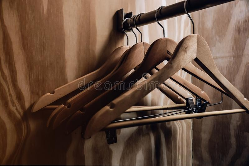 Clothes Hanger in the Hotel`s Room. Services and Facilities for Hotel Industry stock photography