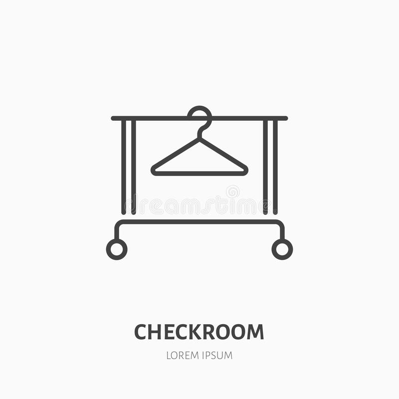 Clothes hanger icon, clothing rack line logo. Flat sign for checkroom. Logotype for laundry shop, dry cleaning, retail vector illustration