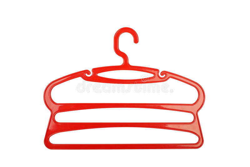 Clothes hanger red plastic stock photography