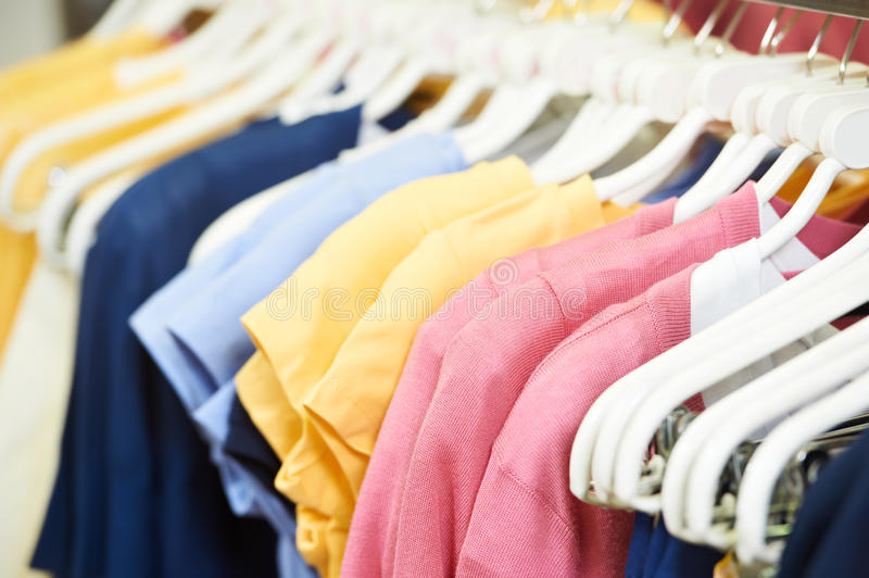 Clothes on hanger in shop royalty free stock photo