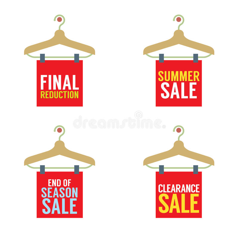 Clothes Hangers With Sale Tag stock illustration