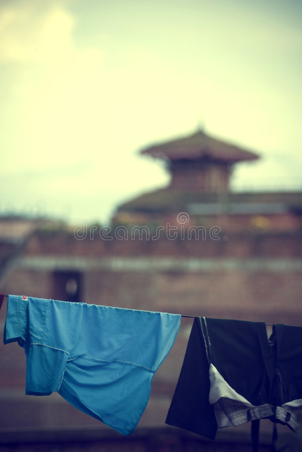 Clothes hanging. On a clothesline overlooking Kathmandu, Nepal stock photography
