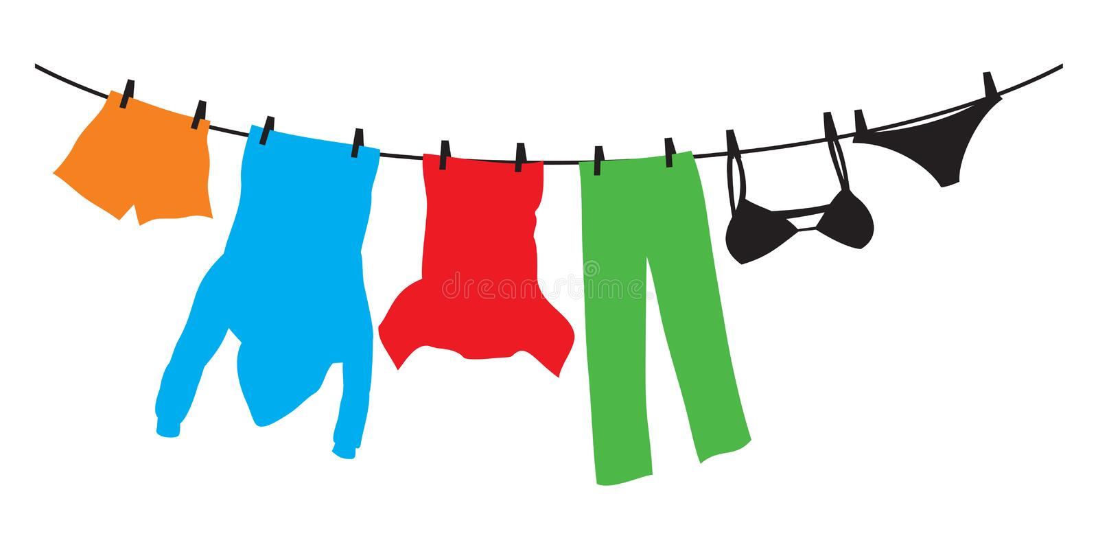 Clothes hanging on a clothesline vector illustration