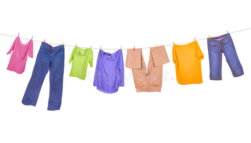 Clothes hanging stock images