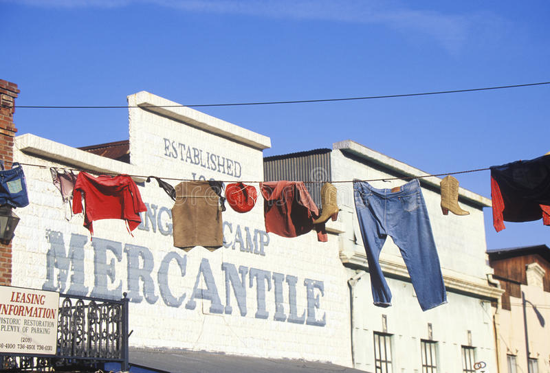 Clothes hanging on line outside Mercantile. In Historic Angels camp, Gold Rush town, CA stock photo