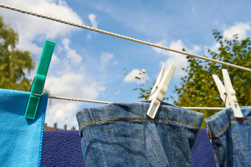 Clothes horse. In the garden can be energy efficient laundry drying in the sun royalty free stock images