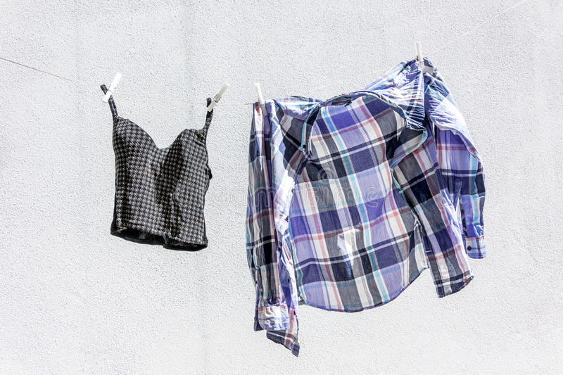Clothes hung out to dry. In the sun stock photography