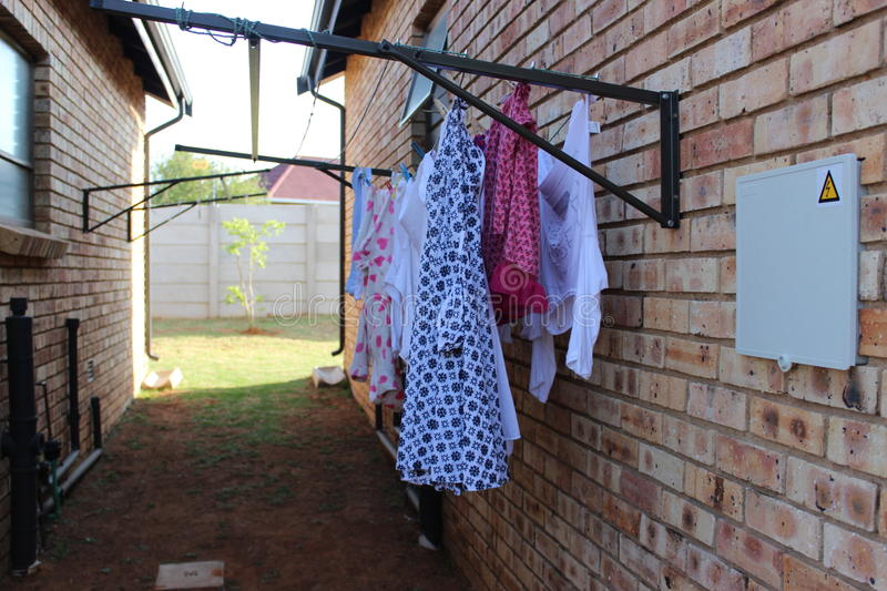 Clothes hung on a washing line royalty free stock photo