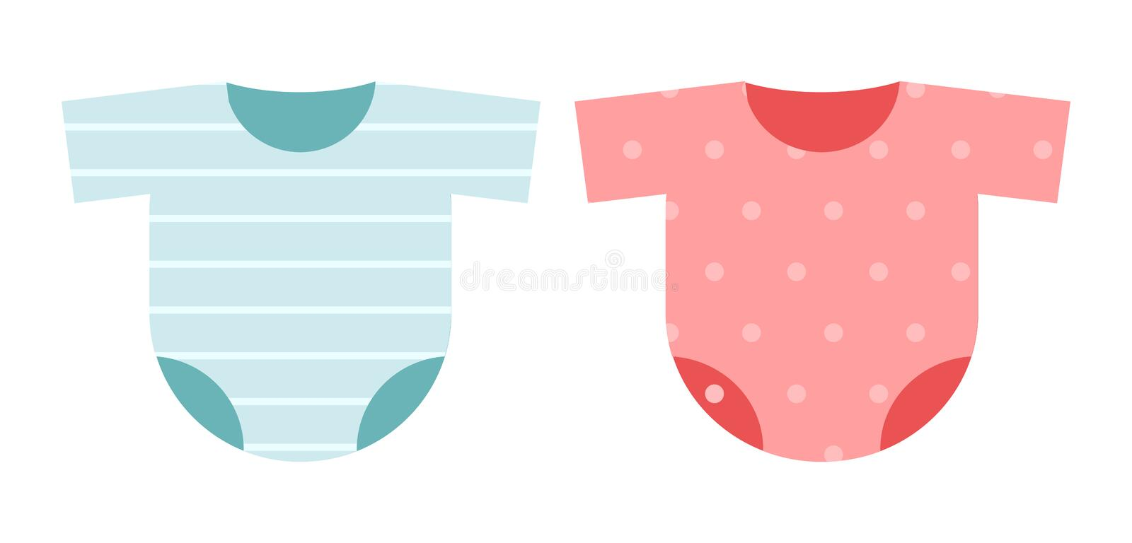 Clothes icon set for kids: costumes bodysuit striped blue for the boy and pink polka dots for girl stock illustration