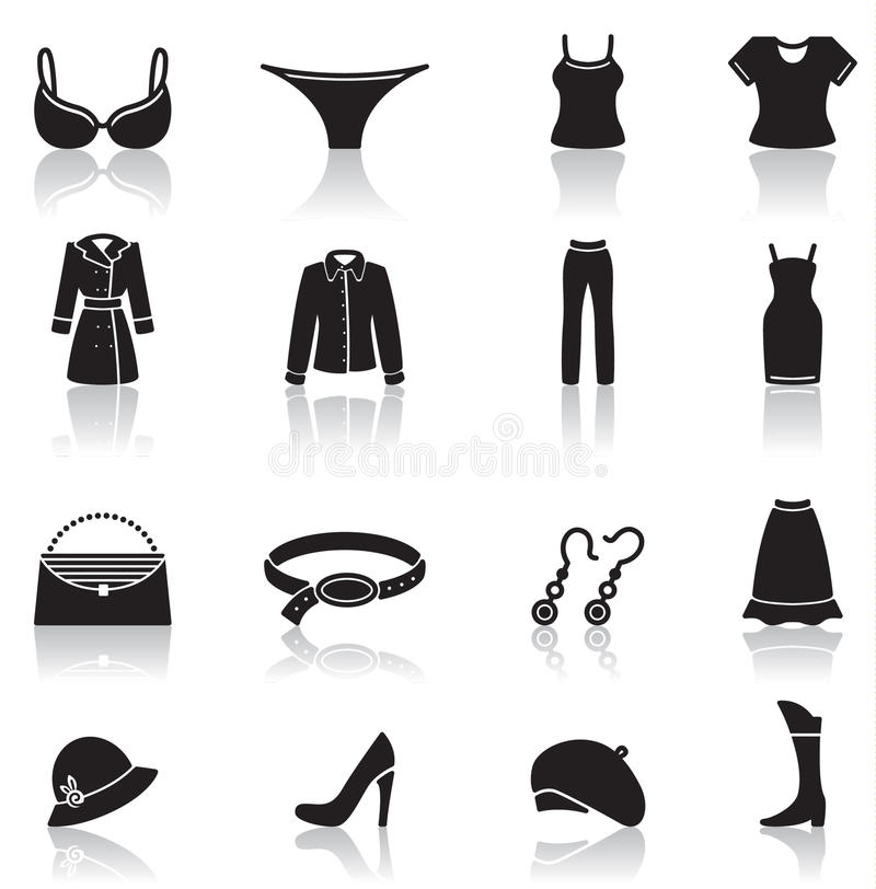 Clothes icons. Icons set of female clothes and accessory royalty free illustration