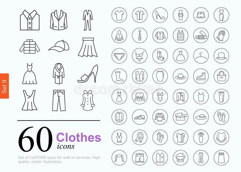 60 clothes icons. Set of clothes icons for web or services. 60 design line icons high quality, vector illustration stock illustration