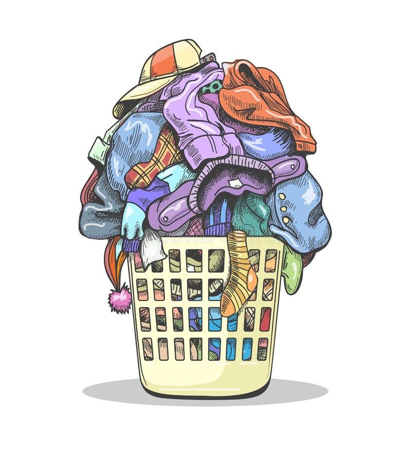 Clothes laundry basket royalty free illustration