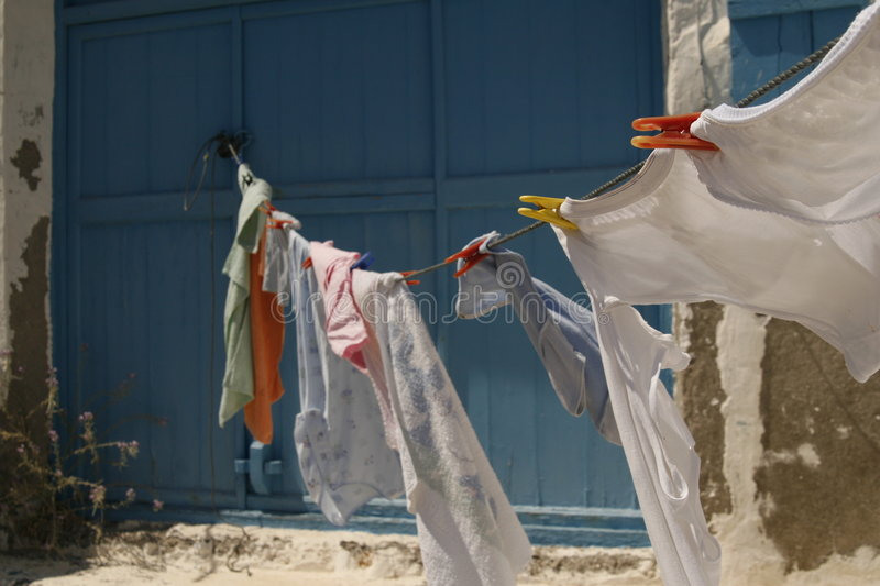 Download Clothes line stock image. Image of blowing, clothesline - 1523143