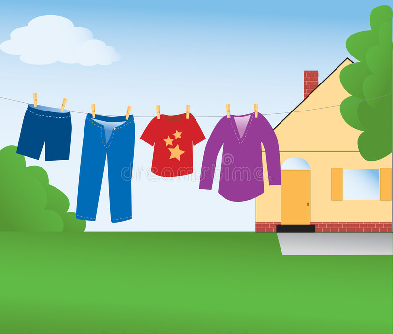 Clothes Line royalty free illustration