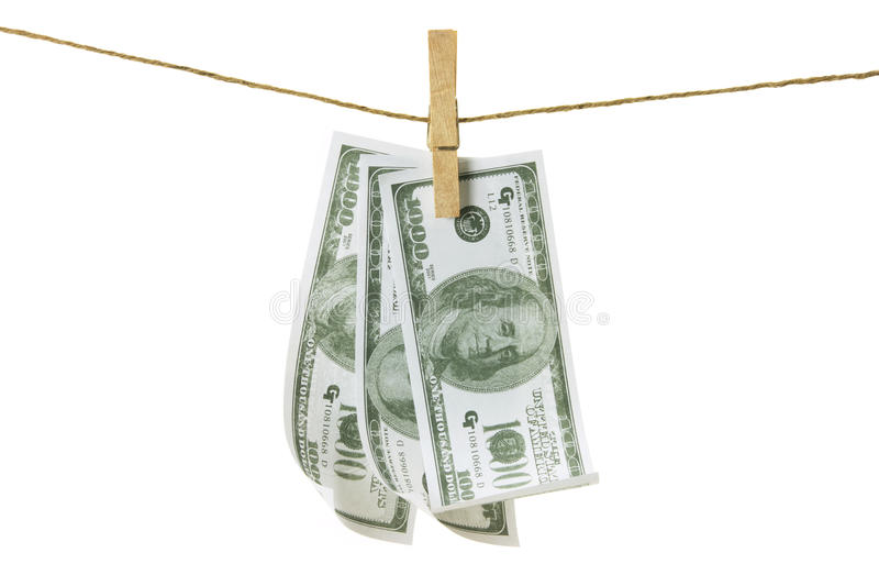 Clothes Line with Dollar Notes royalty free stock photography