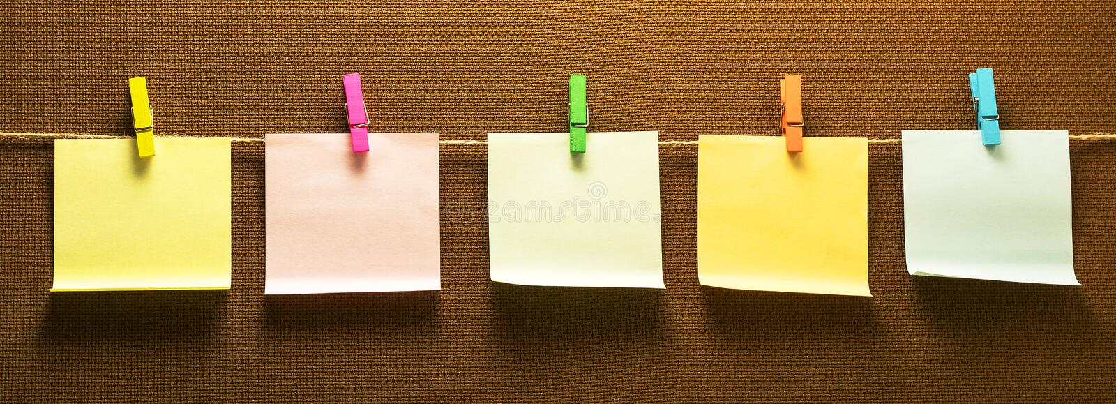 Clothes line note paper hanging horizontal royalty free stock images