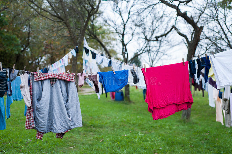 Clothes line stock photography