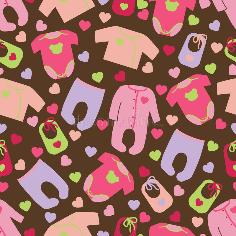 Clothes for newborn baby girl seamless pattern stock for Fashion fabrics