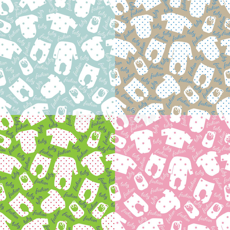 Clothes for newborn baby seamless pattern set stock vector for Unisex baby fabric