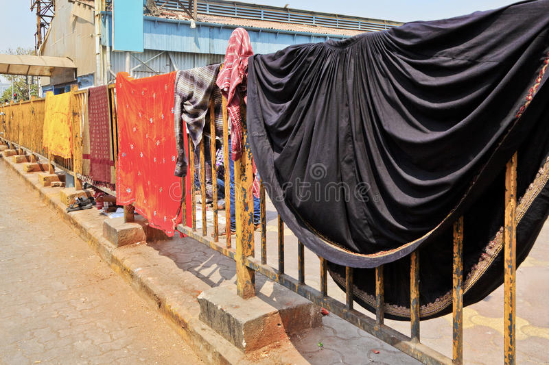 Download Clothes Out Drying At Railway Station Railings Stock Image - Image: 24018287