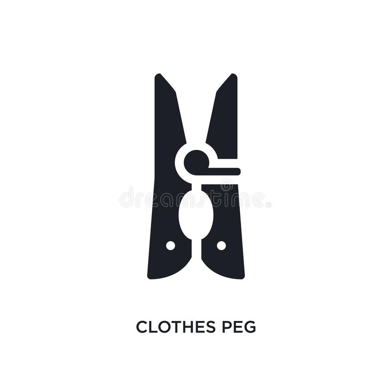 clothes peg isolated icon. simple element illustration from cleaning concept icons. clothes peg editable logo sign symbol design royalty free illustration