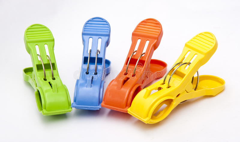 Clothes Pegs. Group of Colorful Plastic Clothes Pegs stock photos