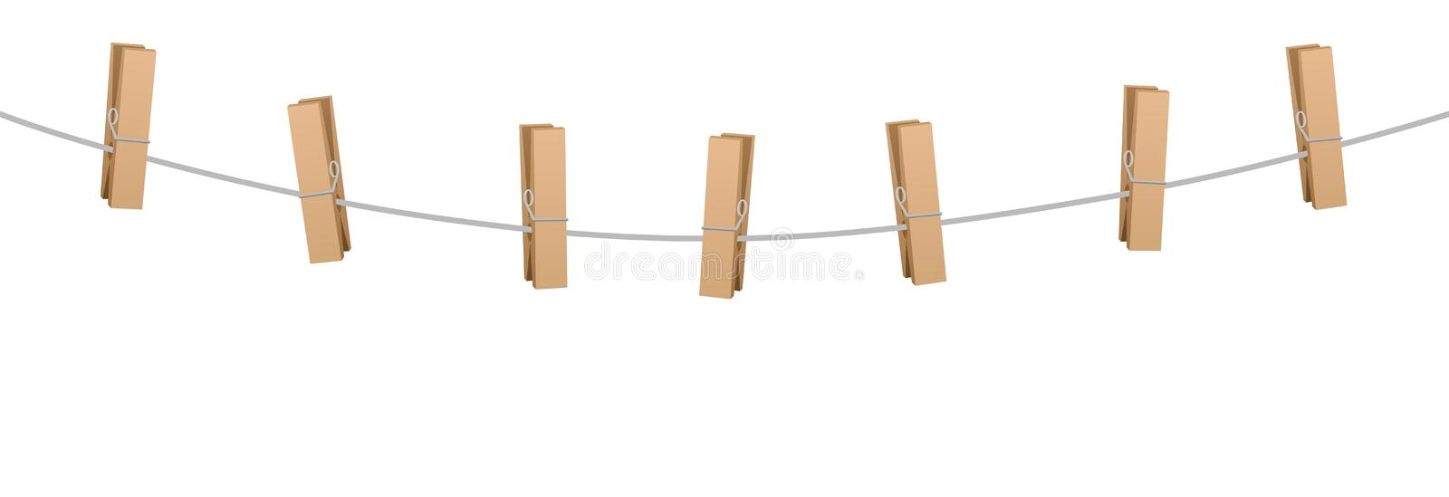 Clothes Pins Clothes Line Rope Seven Wooden Pegs. Clothes pins on a clothes line rope holding nothing royalty free illustration