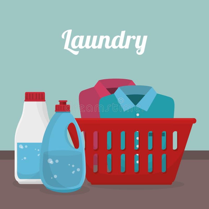 Clothes plastic basket laundry service stock illustration