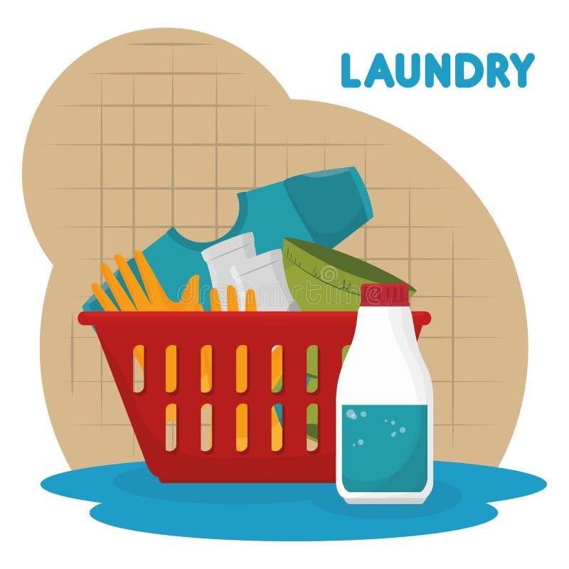 Clothes plastic basket laundry service royalty free illustration