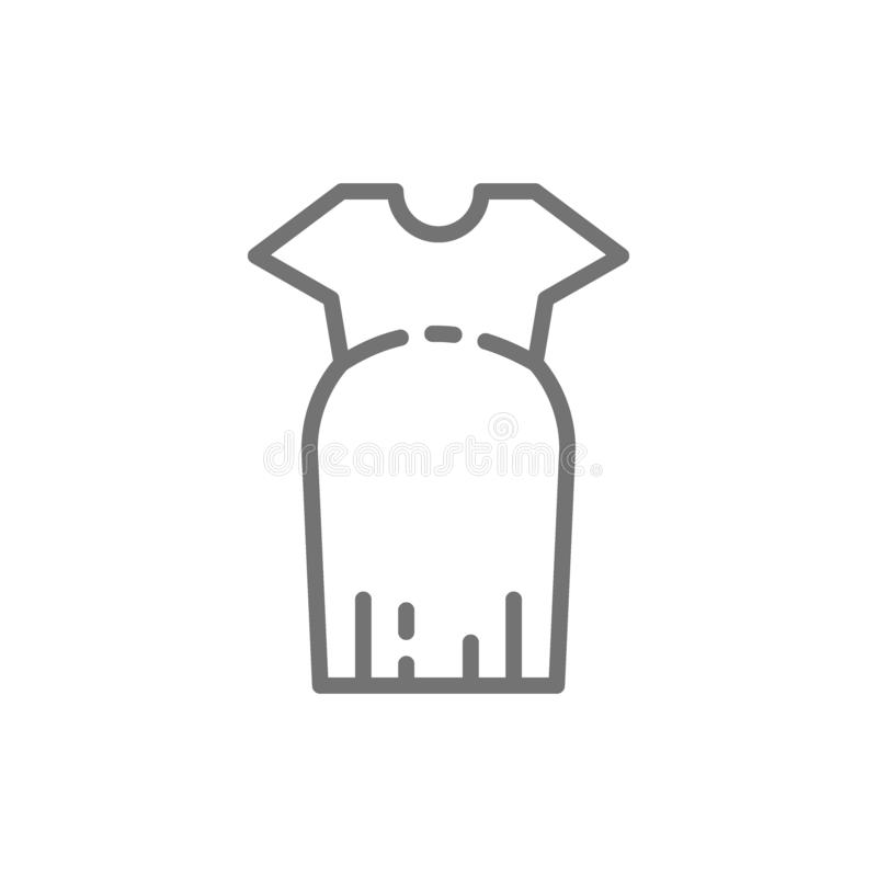 Clothes for pregnant women, oversized dress line icon. stock illustration