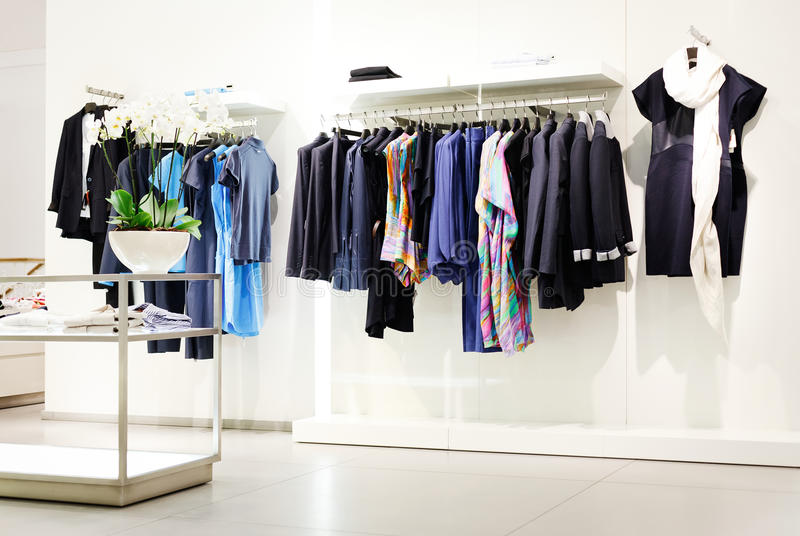 Clothes rack. In shopping center stock image