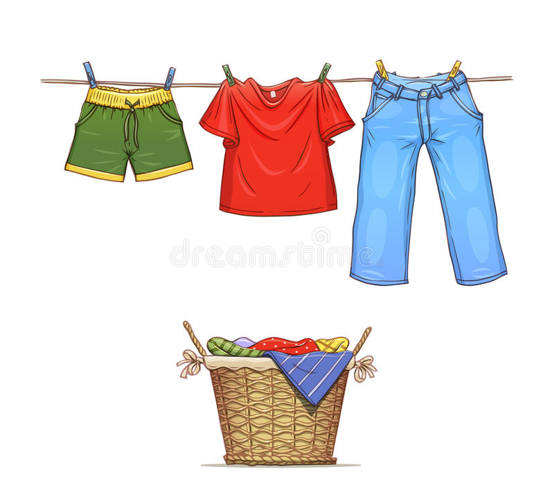 Clothes on rope and basket with wear. Eps10 illustration. on white background stock illustration