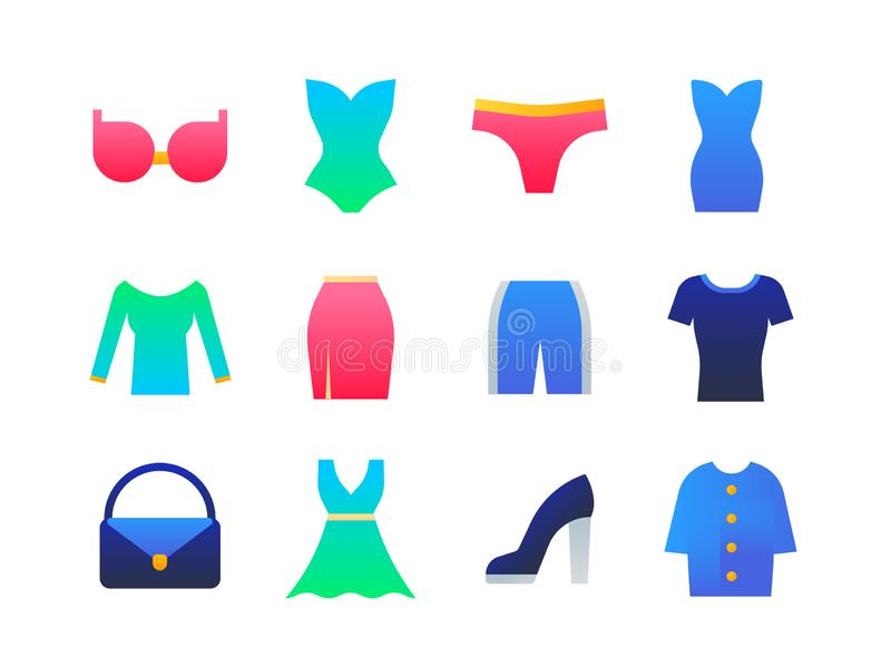 Clothes - set of flat design style icons royalty free illustration