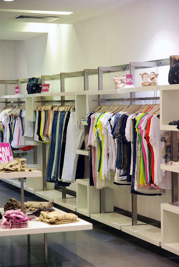 Clothes in the shop. Summer clothes in the shop royalty free stock photography