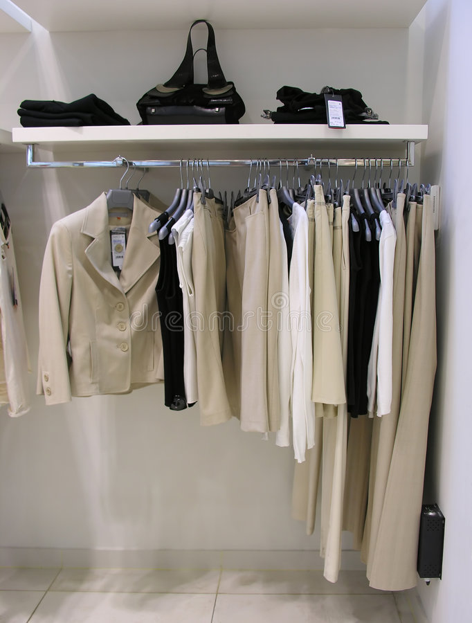 Clothes in shop royalty free stock photo