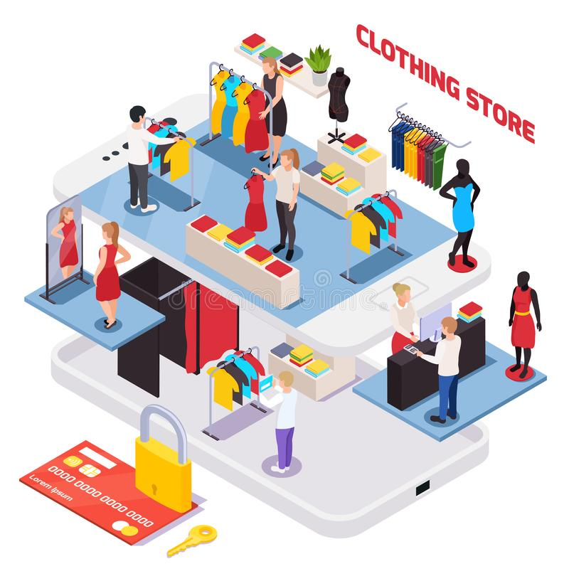 Clothes Shop Composition royalty free illustration