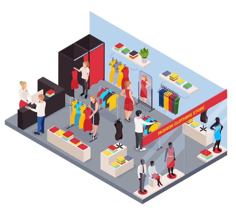 Clothes Shop Isometric Composition royalty free illustration
