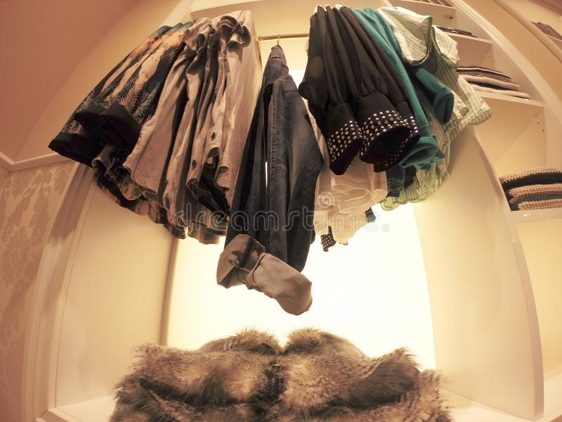 clothes in a shop stock images
