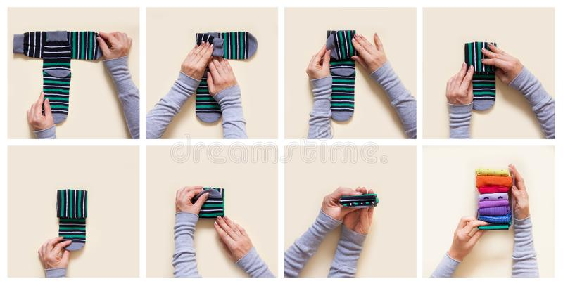 Clothes storage. Order in the closet. Folding socks. Master Class. stock photos