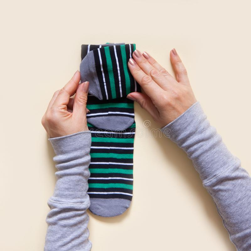Clothes storage. Order in the closet. Folding socks. Master Class. stock photography