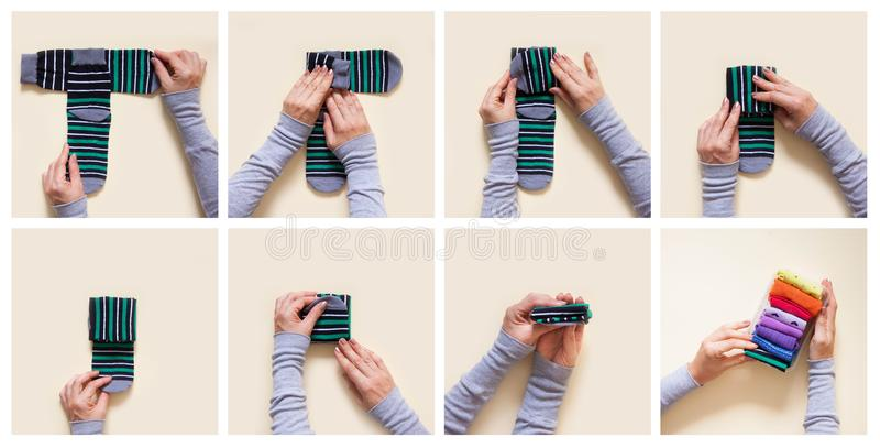 Clothes storage. Order in the closet. Folding socks. Master Class. royalty free stock images