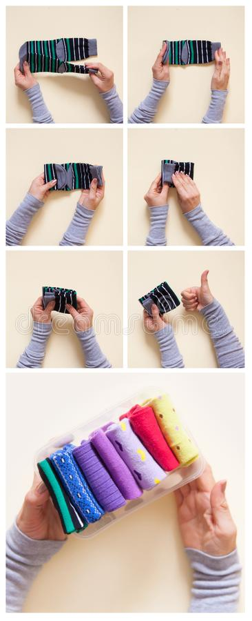 Clothes storage. Order in the closet. Folding socks. Master Class. stock images