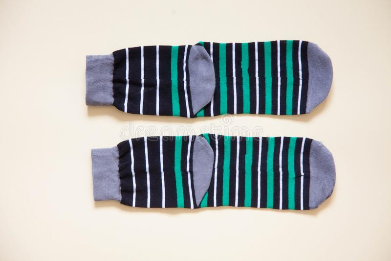 Clothes storage. Order in the closet. Folding socks. Master Class. stock image