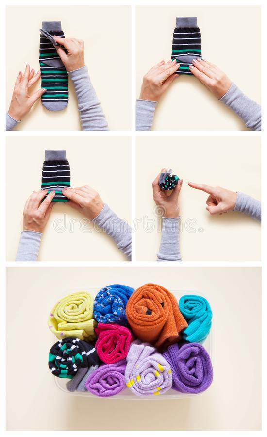 Clothes storage. Order in the closet. Folding socks. Master Class. royalty free stock photo