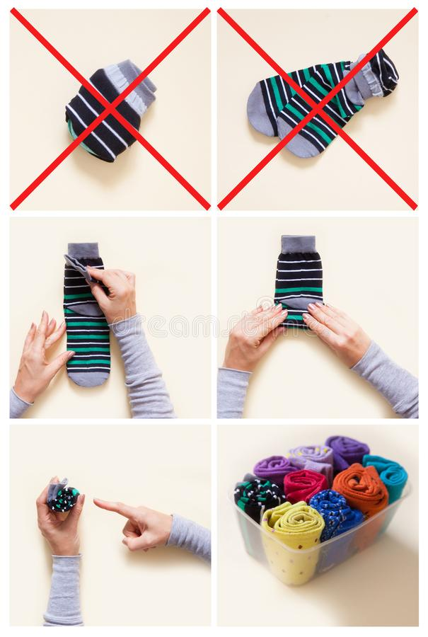 Clothes storage. Order in the closet. Folding socks. Master Class. stock photo