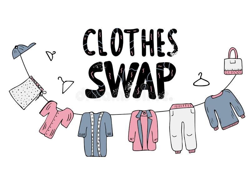 Swap hanwritten lettering. Vector concept design. Clothes Swap lettering with doodle style decoration. Quote for clothes, shoes and accessories exchange event vector illustration