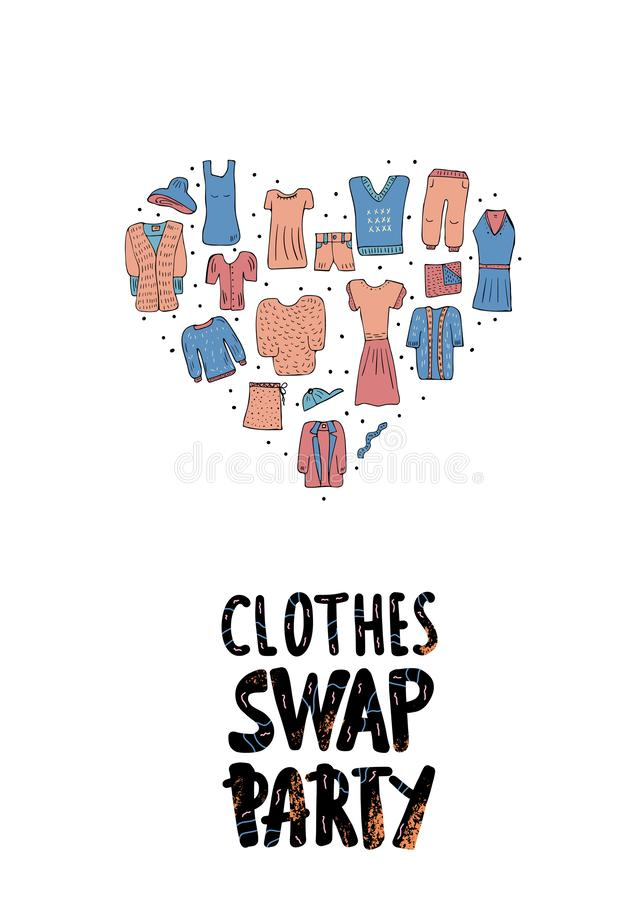 Swap hanwritten lettering. Vector concept design. Clothes Swap Party concept. lettering with doodle style heart shape composition. Handwritten phrase with vector illustration