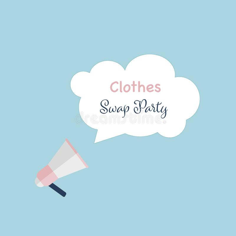 Clothes swap party text on white cloud message. Megaphone on blue background with letters. vector illustration vector illustration
