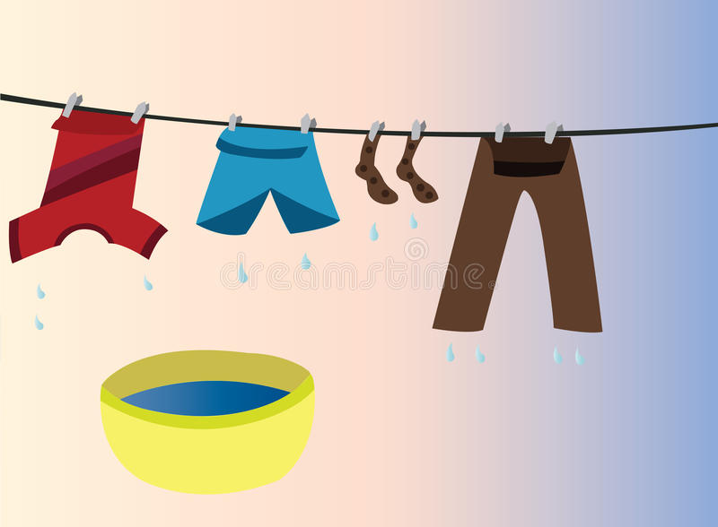 Clothes to hang. Clothes hanged out in the open to dry stock illustration