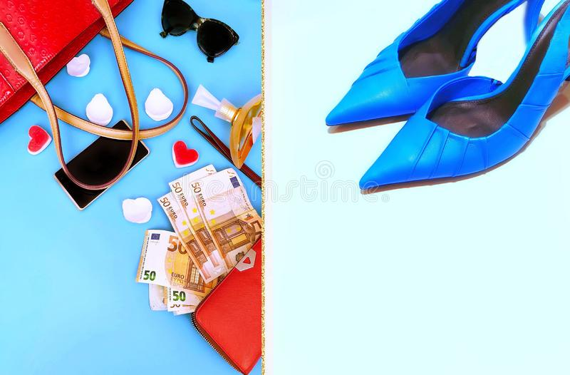 Clothes for women red handbag red wallet sunglass leather gloves and blue sandals fashion accessories summer spring season tre. Clothes for women yellow handbag stock photos